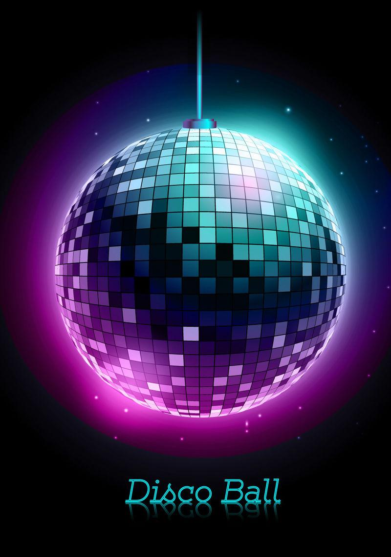 Luces del disco de material de vectores bola resplandor - Bola de discoteca de colores ...
