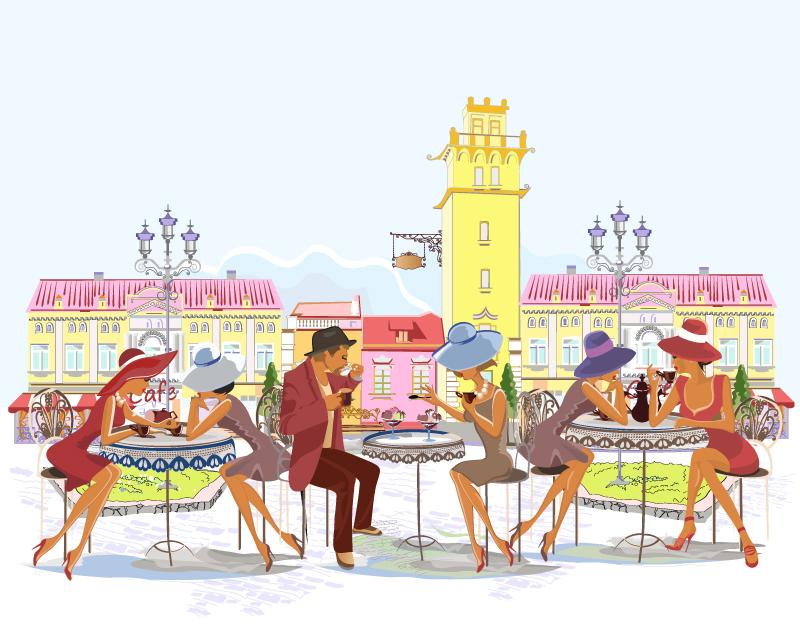 creativo Aire Lavanderia Al Libre : Calle creativo caf??s al aire libre de material ilustrador vectorial ...