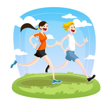 Hombres Corriendo Vector Material Dibujos Animados