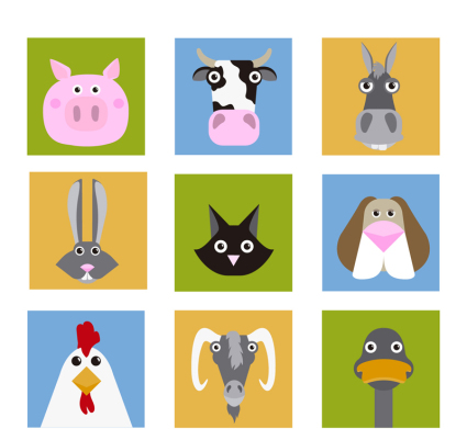 9 material de vectores creativo de cabeza animal vector