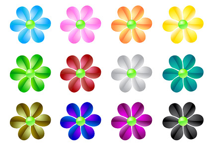 web2.0 crystal flowers vector material Download Free Vector,PSD,FLASH ...
