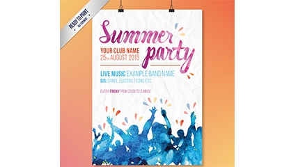 Acuarela Summer Party Poster Vector Material