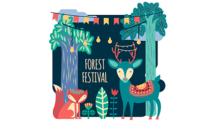 Dibujos animados forestales festival ilustraci¨®n vectorial material