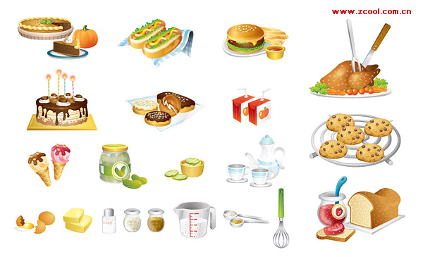 ai formats, including jpg preview, keyword: Vector icons, cake, hot ...