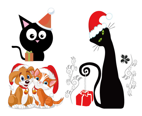 perros y gatos de navidad vector descarga gratuita de. Black Bedroom Furniture Sets. Home Design Ideas