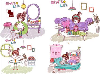 Vector de las niñas la vida / More in: Vector de Cartoon
